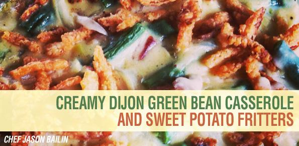 dijon-green-bean-casserole-sweet-potato-fritters
