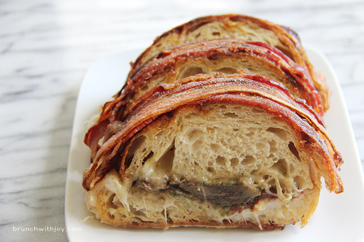 bacon wrapped reverse grilled cheese sandwich